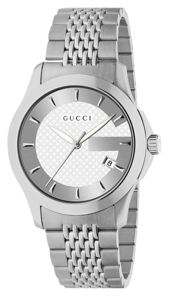 fee771b444e Gucci Gucci G Timeless Stainless Steel Bracelet Watch YA126401 Image 0 ...