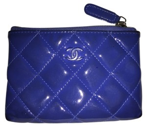 Chanel CHANEL Blue Patent Quilted Zip Coin Purse