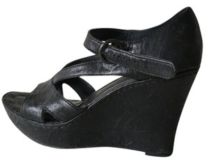 Crown by Børn Leather Platform Black Wedges