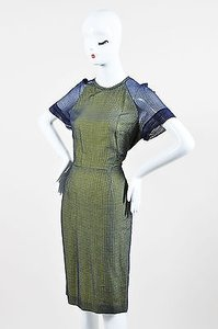 Other Lyn Devon Michelle Obama Navylime Green Fine Checkered Short Sleeve Dress