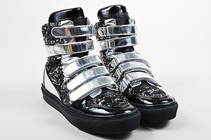 Louis Vuitton Metallic Silver And Leather Sequined High Top Sneakers Black Athletic