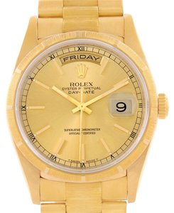 Rolex Rolex President Day-Date Mens 18k Yellow Gold Bark Finish Watch 18248
