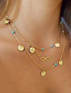 Gold infinity layering chain necklace Multi layered Gold chain layering infinity turquoise necklace, 2016 jewelry necklace trend