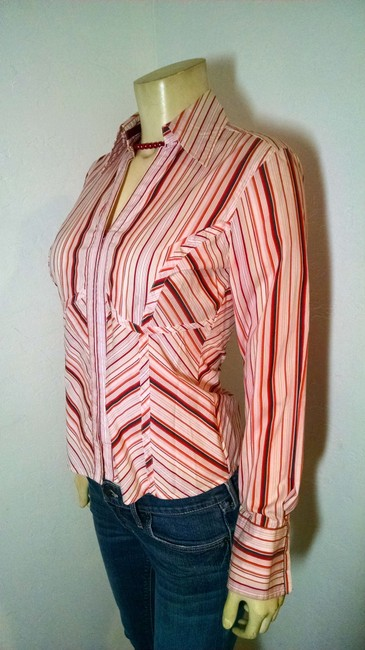 The Limited Long Sleeves Size Medium Summersale Button Down Shirt pink, dark pink, white