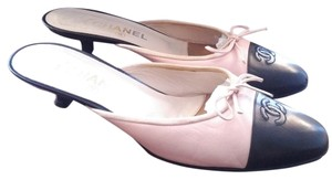 Chanel Captoe Logo Pink and black Mules