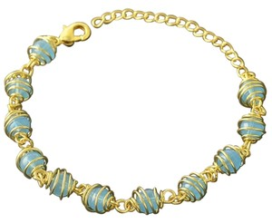 NEW! 9K Yellow GF Light Blue Zirconia Bead Wrapped Bracelet