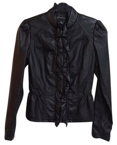 INC International Concepts Faux Leather Ruffle Peplum Motorcycle Jacket