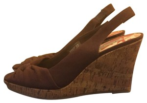 American Eagle Outfitters Slingback Sandals Knotted Brown Wedges