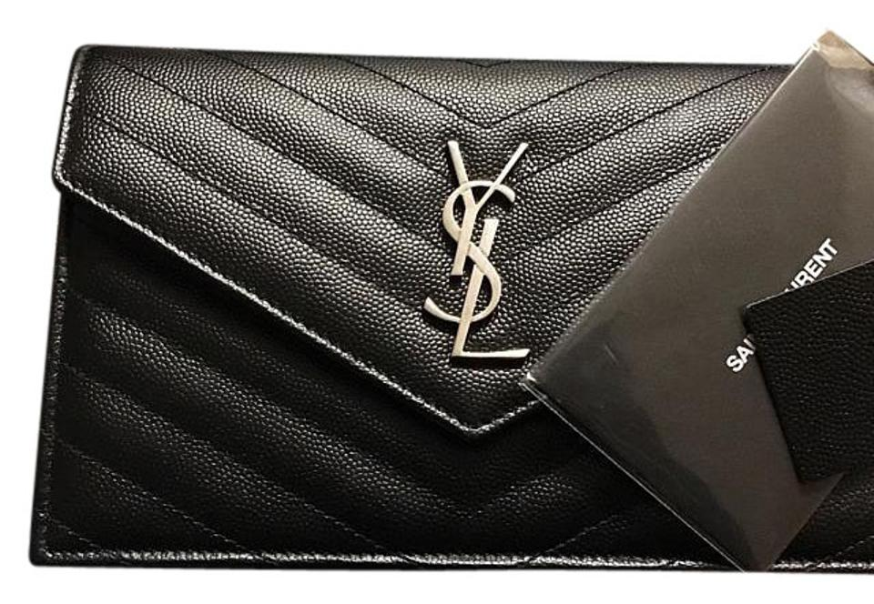 Saint Laurent Chain Wallet Monogram Envelope In Grain De Poudre Textured  Matelasse Leather Black and Silver Calf Cross Body Bag 64f673afd3531