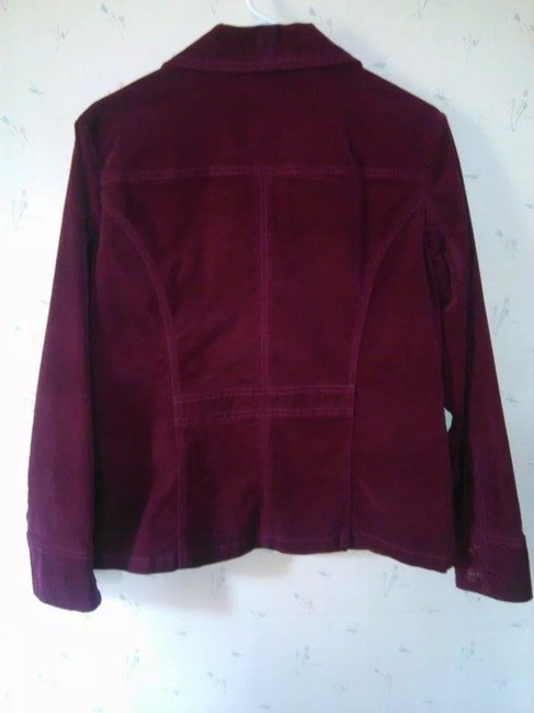 Chico's Velvet Jacket Button Down Shirt Burgundy