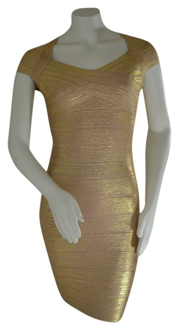 Item - Gold Metallic Foil Bandage Mid-length Night Out Dress Size 4 (S)