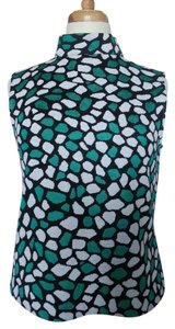 St. John Sleeveless Print Top Black, Jade and White