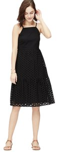 Ann Taylor LOFT short dress Black Eyelet Tiered Sheath on Tradesy