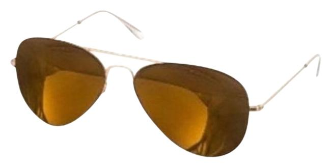 Item - Gold Brown 'james' Aviator Hippie Metal Frames with Mirrored Lenses + Case & Cloth Made In Italy Sunglasses