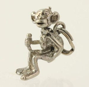 Monkey Dangle Pendant - Silver Toned Womens Fashion Estate Animal Cartoon