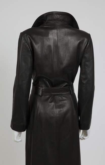 Jitrois Leather Leather Elegant Ankle Length Lambskin Dress Belted Trench Coat