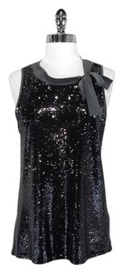 LUISA CERANO Sequin Viscose Top Black/Grey
