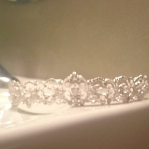 David's Bridal Silver Crystals and Pearls White