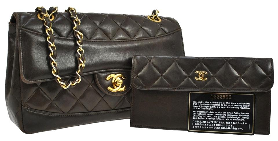 Chanel Wallet on Chain Quilted Cc Chain Brown Leather Vintage France ... 89a92abbc15bf