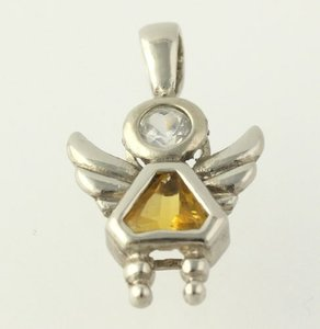 Angel Birthstone Pendant - Sterling Silver 925 Yellow Cz November Womens Child