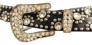 Kippys Kippys Baby Cowgirl Black Leather and Clear Crystal and Silver Buckle