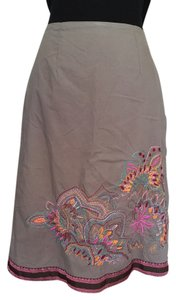 Mix Nouveau NY India Ribboned Hem Skirt gray w/ vibrant embroidery