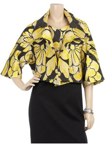 Vera Wang Swing Structured Metallic Floral Print Yellow, Cream, Black Jacket