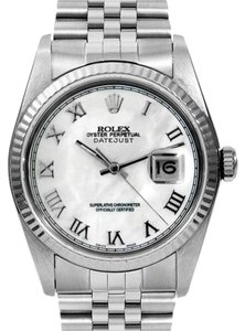 Rolex Rolex DateJust Stainless Steel White Gold Mother of Pearl Roman Dial Fluted Men's Watch
