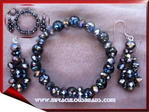 Miraculous Beads Black Crystal Bracelet and Earring Set