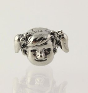 Little Girl Charm - Silver Toned Slider Womens Fine Estate Pigtails Face