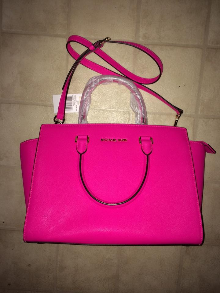 da70cb49e Michael Kors Leather Adjustable Strap Drop Handles Satchel in Hot Pink  Image 2. 123