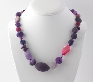 Beaded Agate Quartz Necklace 20.5 - Sterling Silver Clasp Womens