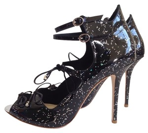 Sophia Webster Sophia Webster Finn Glitter Sandals/Black Sandals
