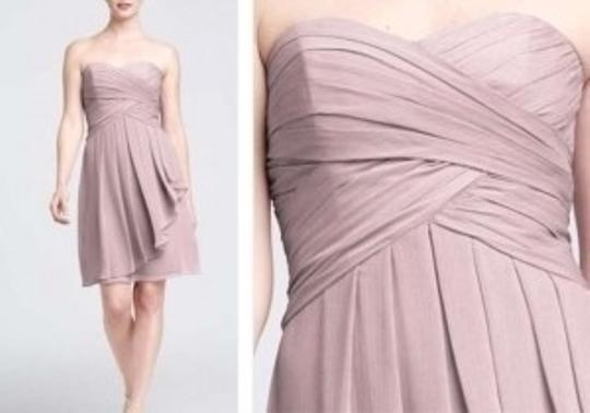 David's Bridal Pink Chiffon Short Crinkle with Front Cascade Style F14847 Feminine Bridesmaid/Mob Dress Size 2 (XS)