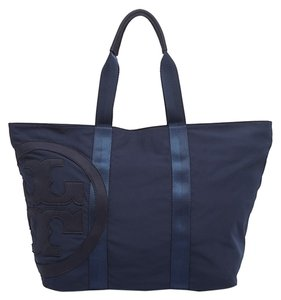 Tory Burch Nylon Ligthweight Large Logo Tote in navy