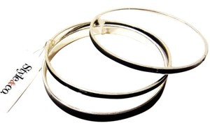 Style & Co Designer Bangle Bracelets Silver Tone Black Enamel Set Of