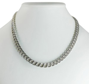 Sterling Silver Double Curb Chain Necklace 18