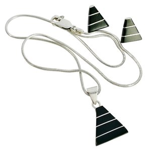 Other Vintage Modernist Black Onyx and Sterling Silver Necklace & Earring Set