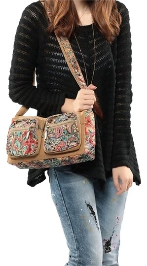 Black Butterfly Floral Canvas Cross Body Bag