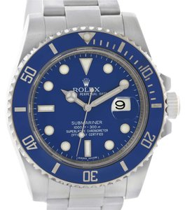 Rolex Rolex Submariner 18K White Gold Blue Dial Ceramic Bezel Watch 116619LB