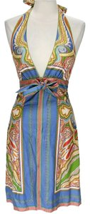 Nicole Miller Silk Print Halter Dress