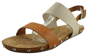 Dolce Vita Leather Silver Hardware Studded Tan Bone Sandals
