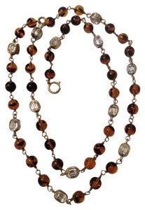 Chanel RARE VINTAGE 1985 CHANEL GRIPOIX TORTOISESHELL and CRYSTAL NECKLACE