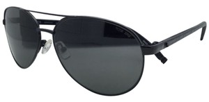 Tumi New Polarized TUMI Sunglasses NEWPORT Aviator Black Titanium Frame w/ Leather Temples & Zeiss Lenses
