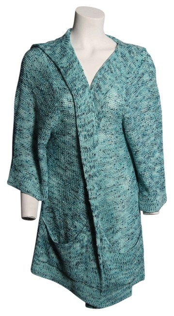 Item - Blue/Multi XL Knitted Hoodie Sweater - Poncho/Cape Size 18 (XL, Plus 0x)