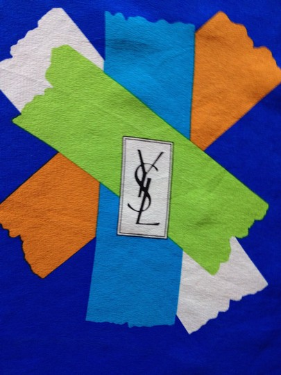 Saint Laurent YSL Yves Saint Laurent Vintage Large Silk Scarf Logo Signature Graphic Asterix