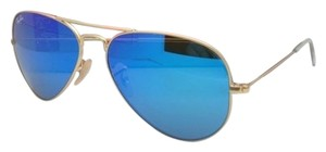 Ray-Ban New Ray-Ban Sunglasses RB 3025 Large Metal 112/17 58-14 Gold Aviator Frame w/ Multi-Blue Mirror