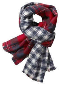 Abercrombie & Fitch Classic Red & Navy Duofold Plaid Scarf