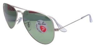 Ray-Ban New Polarized Ray-Ban Sunglasses LARGE METAL RB 3025 019/O5 Matte Silver Frame w/Green Lenses