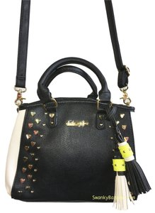Betsey Johnson Satchel in Black/Bone/Citron